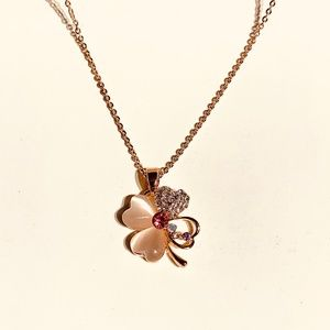 Jewelry - Four Leaf Clover Flower Necklace with Crystals